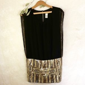 Moon Collection Gold Sequin Mini Tunic Dress
